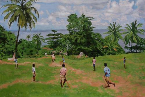Children Playing Cricket - Jamaica by RaraAvis - Use the 'Create Similar' button to commission an artist to create your own artwork.