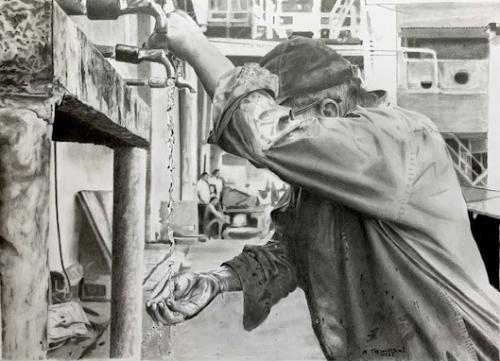 Artwork Man Washing Hands