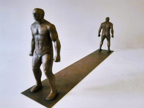 Artwork Stand Off - cold cast bronze ltd edition 1/3