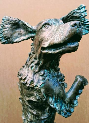 Spaniel in Flight - cold cast bronze - 1/1 by Ben - Use the 'Create Similar' button to commission an artist to create your own artwork.