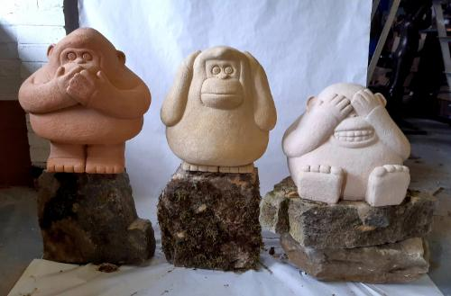 The Three Wise Monkeys - stone Jesmonite  1/3 by Ben - Use the 'Create Similar' button to commission an artist to create your own artwork.
