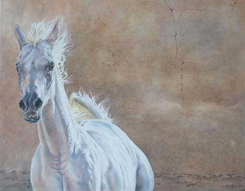 Artwork Running Arab horse
