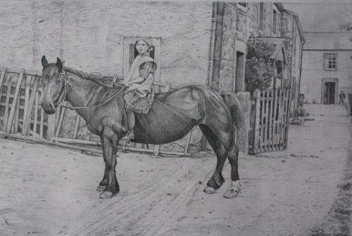 Artwork Girl on Horse ( 1930s)