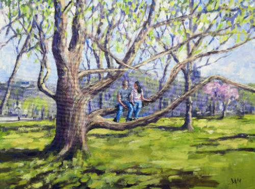 Artwork Couple Sitting in a Tree