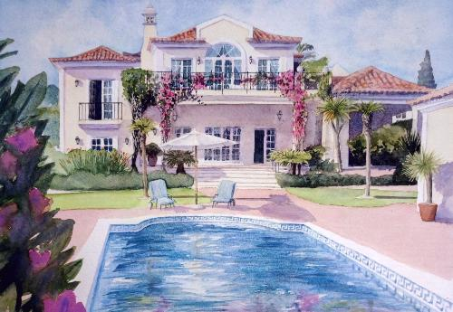 Portuguese Villa by Judith - Use the 'Create Similar' button to commission an artist to create your own artwork.