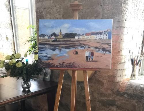 Family Day on Anstruther Seafront by Judith - Use the 'Create Similar' button to commission an artist to create your own artwork.