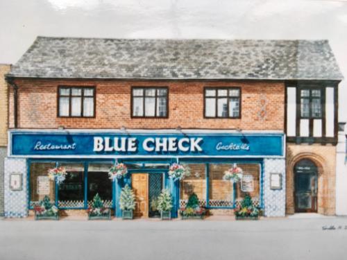 Artwork Blue Check Restaurant