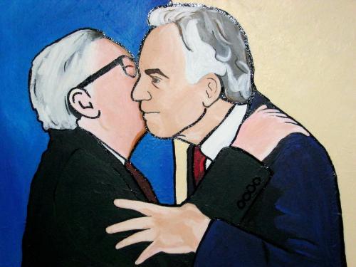 Artwork The Kiss: Tony Blair and Jean-Claude Juncker
