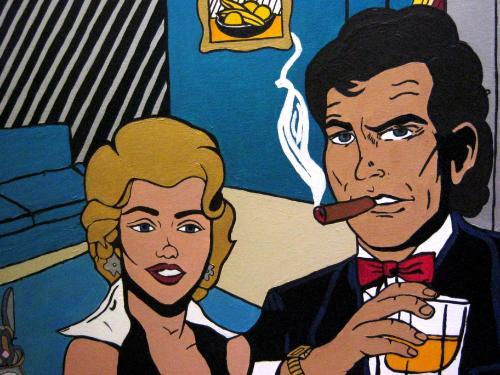 Artwork Man and Woman in Livingroom