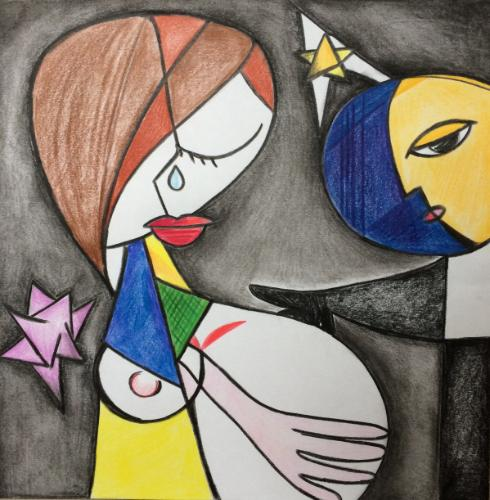 Artwork Cubist mother