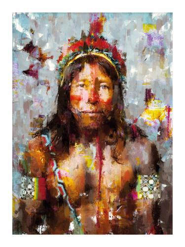 Artwork Kayapo Tribe Member Portrait