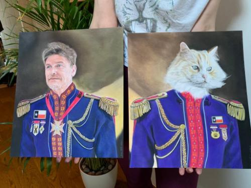 Artwork Military cat and owner