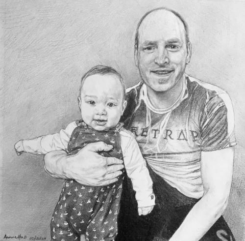 Artwork Father and baby son