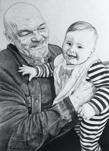 Artwork Grandfather and grandson