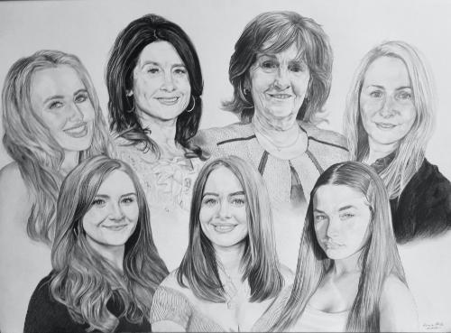 Artwork A3 composition (seven women in the same family)