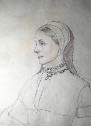 Artwork Woman's portrait in the style of Holbein