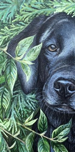 Labrador Puppy Peeping Through Fence by Vicky - Use the 'Create Similar' button to commission an artist to create your own artwork.