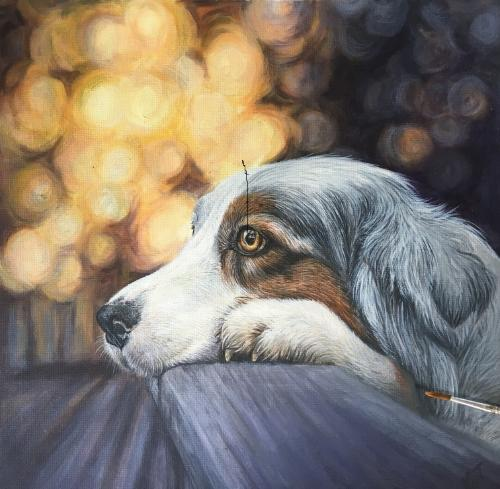 'Hiro'  Blue Merle Australian Shepherd by Vicky - Use the 'Create Similar' button to commission an artist to create your own artwork.