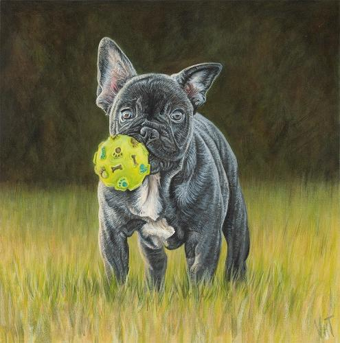 Artwork Boston Terrier Pup with Ball