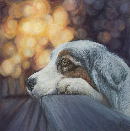 Blue Merle Australian Shepherd by Vicky - Use the 'Create Similar' button to commission an artist to create your own artwork.