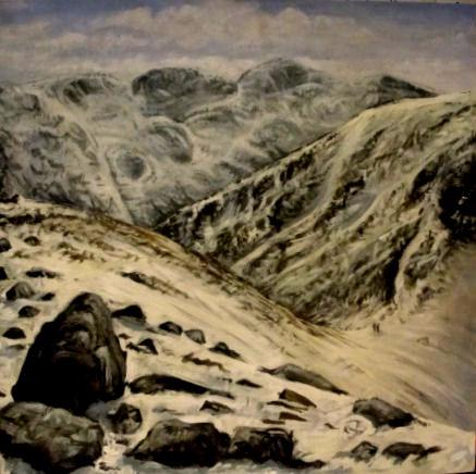 Artwork Looking to Scafell from Green Gable