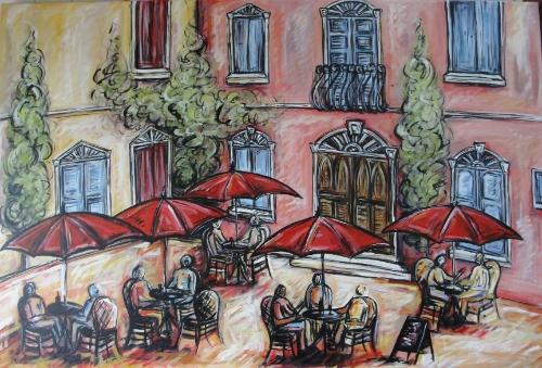 Artwork Parisian Cafe Scene