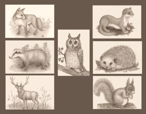 Artwork 7 animal drawings for Wedding Table centerpieces