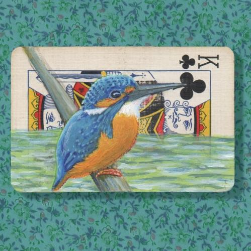 Artwork King of Clubs with Kingfisher