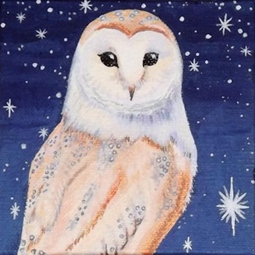 Artwork Barn Owl and starlight