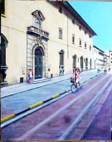 Cycling in Florence by PamelaPaints - Use the 'Create Similar' button to commission an artist to create your own artwork.