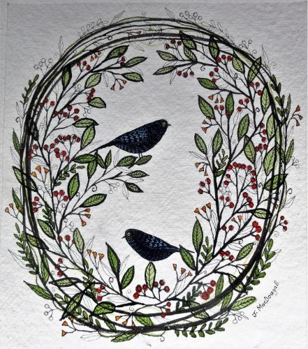 Artwork Two blackbirds Floral Wreath