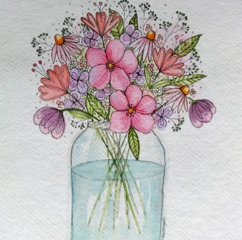 Artwork Jam Jar of Flowers