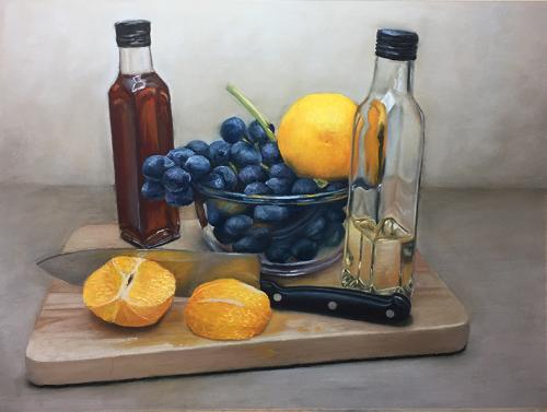 Artwork Oranges and a Knife