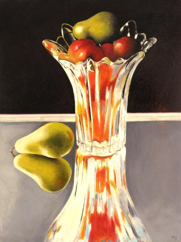 Artwork Glass vase with fruit