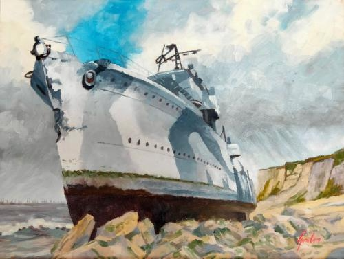 Artwork HMS Fury at Arromanches – One.