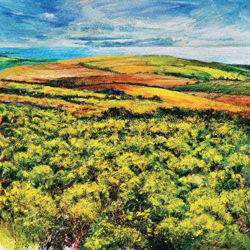 Moorland gorse, distant sea by Robert - Use the 'Create Similar' button to commission an artist to create your own artwork.