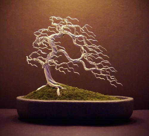 Artwork #31 - A silver 'windswept' Bonsai tree