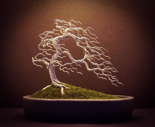 #31 - A silver 'windswept' Bonsai tree by Steve - Use the 'Create Similar' button to commission an artist to create your own artwork.