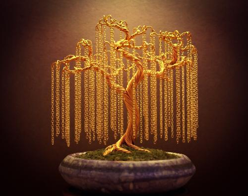 #18 - A gold 'Chain Willow' by Steve - Use the 'Create Similar' button to commission an artist to create your own artwork.