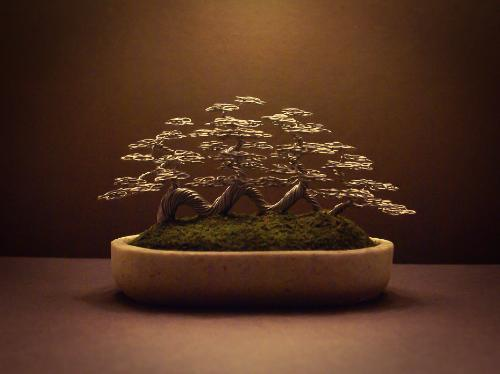 Artwork #34 - A light grey 'raft' style wire Bonsai