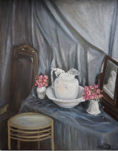Artwork Jug and bowl with roses in the vases