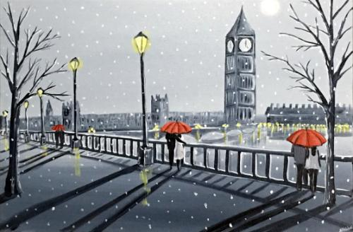 Artwork London Winter Umbrellas