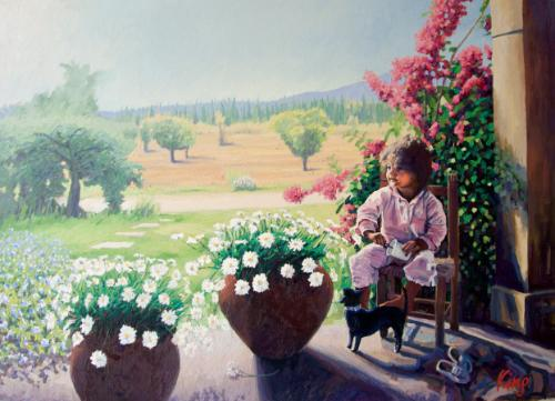 Little Girl with Marigolds. by Brian - Use the 'Create Similar' button to commission an artist to create your own artwork.