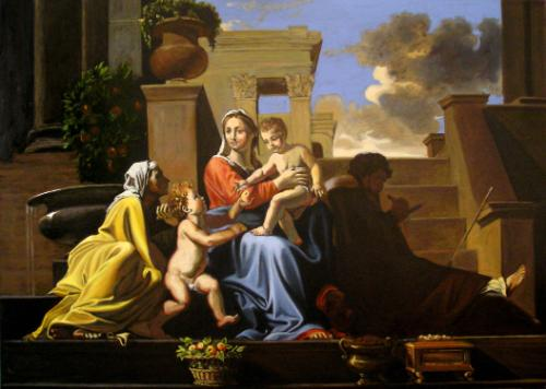 Artwork Copy of Poussin's 'Holy Family on the Steps'