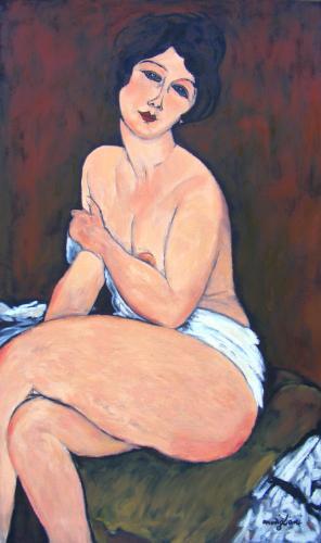 """Artwork Copy of Modigliani's 'La Belle Romaine""""."""