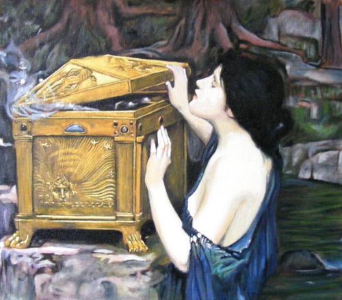 Artwork Copy of J.W. Waterhouse's 'Pandora's Box' (detail)