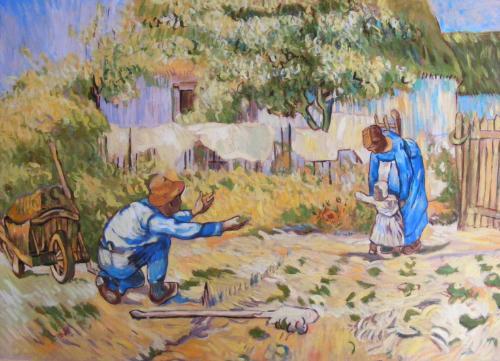 Artwork Copy of Van Gogh's 'First Steps (after Millet)'