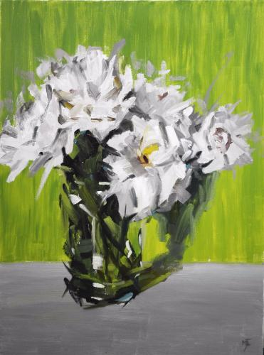 Artwork White Flowers against Green and Grey