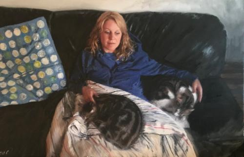 Artwork Model With Cats SOLD COMMISSION