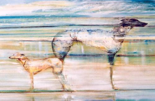 Artwork Greyhound and whippet on the shoreline